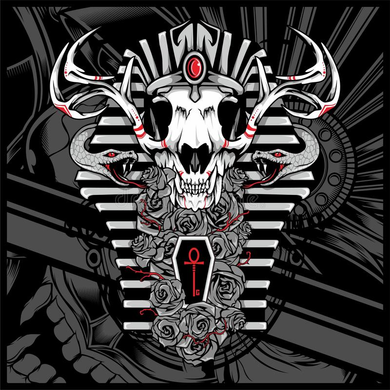 Anubis bóg nieboszczyk z wężem, - wektor ilustracja wektor