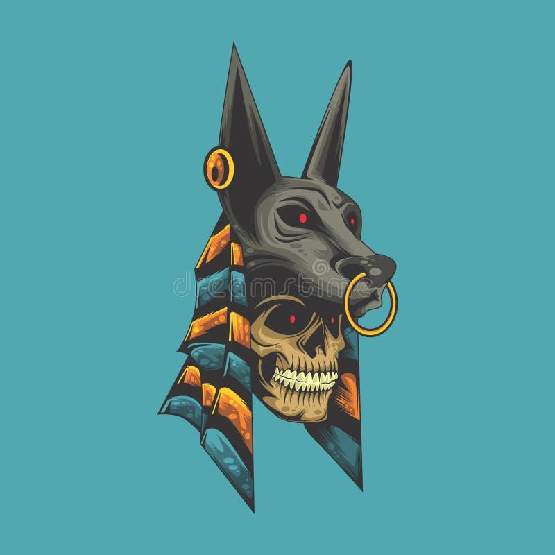 Anubis czaszka royalty ilustracja