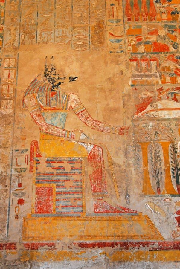Anubis dans le temple de Hatshepsut photos stock