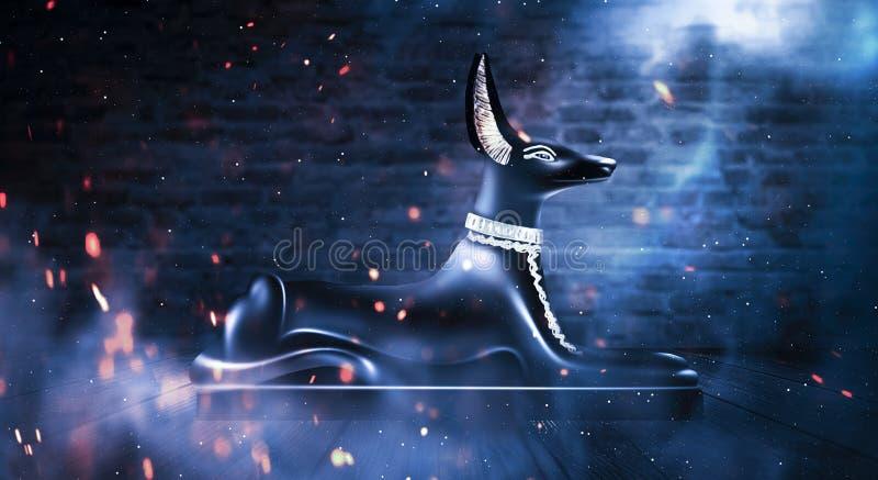 Anubis dell'egitto antico Dio della morte Fondo egiziano astratto scuro illustrazione vettoriale