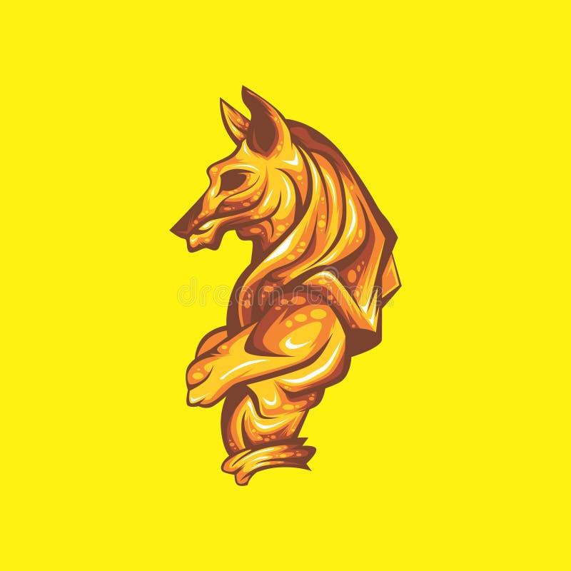 Anubis dorato illustrazione di stock