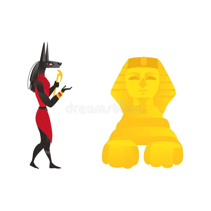 Anubis, forntida Egypten gud och egyptisk sfinx royaltyfri illustrationer