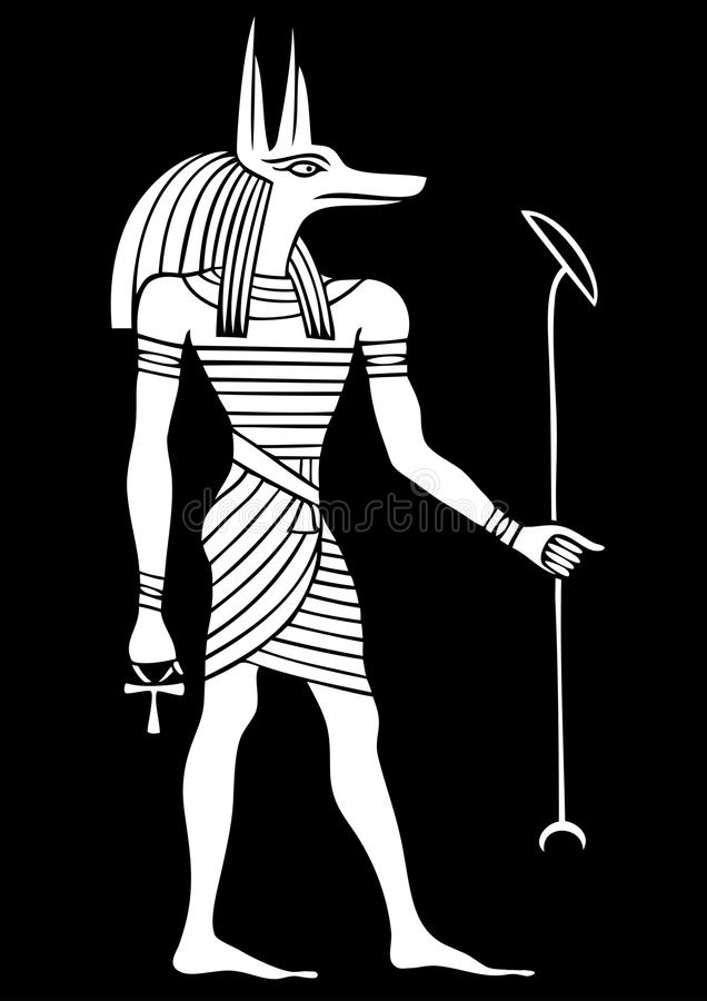 Anubis - God of ancient Egypt. God of funerals, death, the dead and the afterlife stock illustration