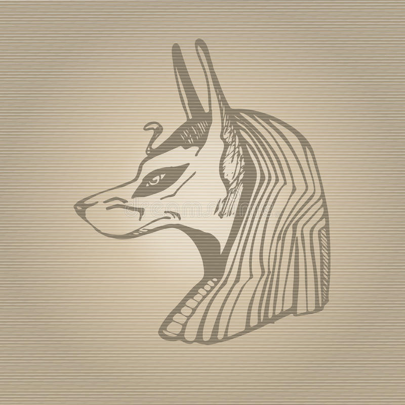Anubis ikona Ręka rysująca wektorowa ilustracja royalty ilustracja