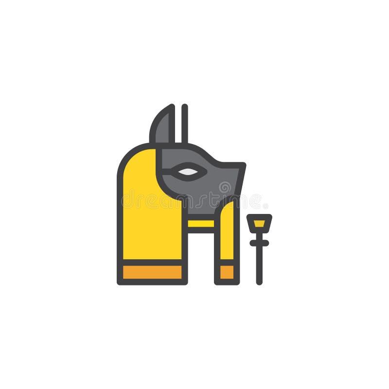 Anubis llenó el icono del esquema ilustración del vector