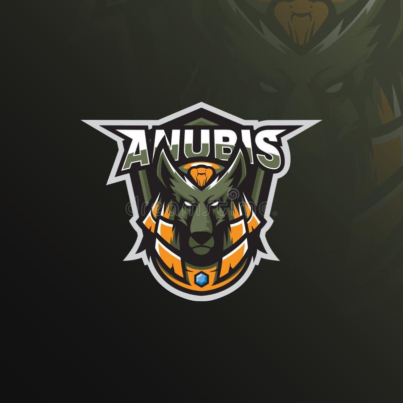 Anubis logo maskotki projekta wektor z nowożytnym ilustracyjnym pojęcie stylem dla odznaki, emblemata i tshirt druku, anubis głow ilustracja wektor