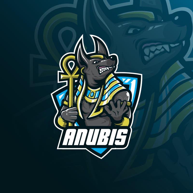 Anubis maskotki logo wektorowy projekt z nowożytnym ilustracyjnym pojęcie stylem dla odznaki, emblemata i tshirt druku, gniewni a royalty ilustracja