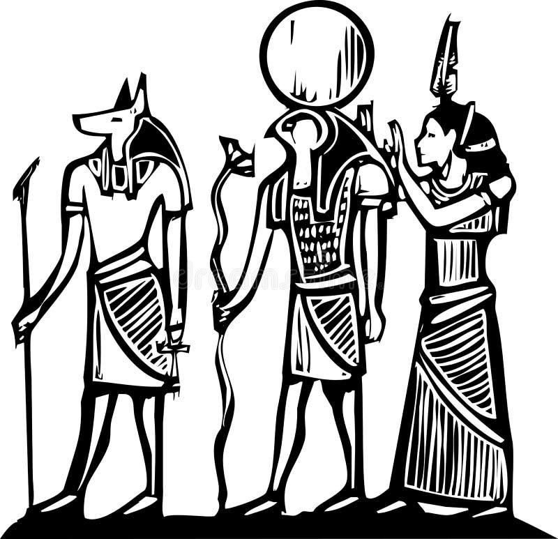 Anubis och Horus stock illustrationer
