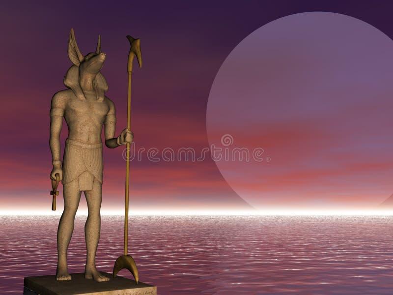 Anubis sur le dispositif protecteur illustration stock