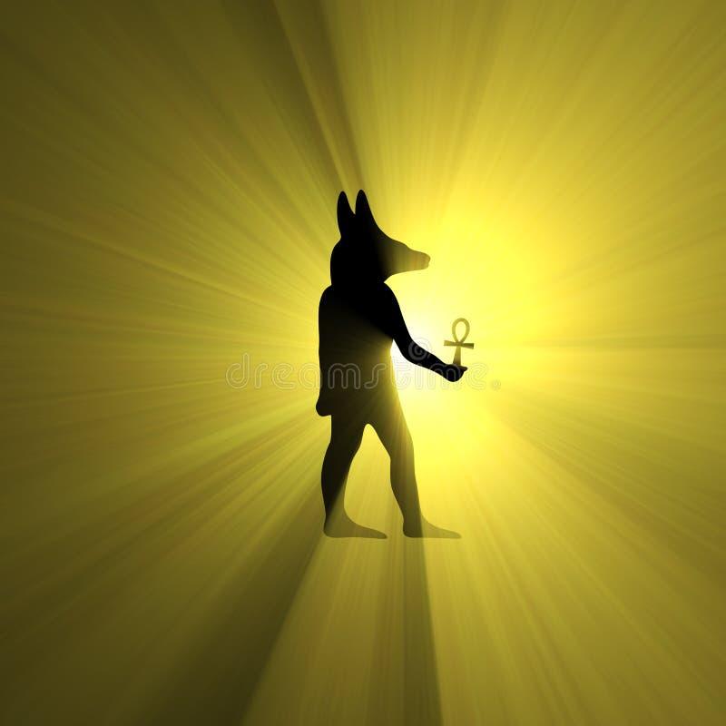 Anubis trzyma Ankh symbolu światła Egipskiego racę royalty ilustracja