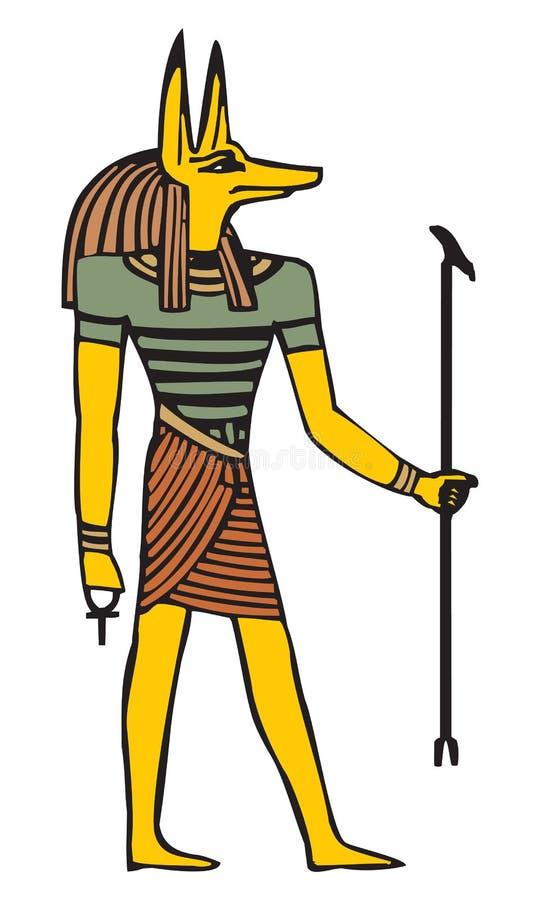 Anubis w p?askim wektorowym projekcie odizolowywaj?cym na bielu royalty ilustracja