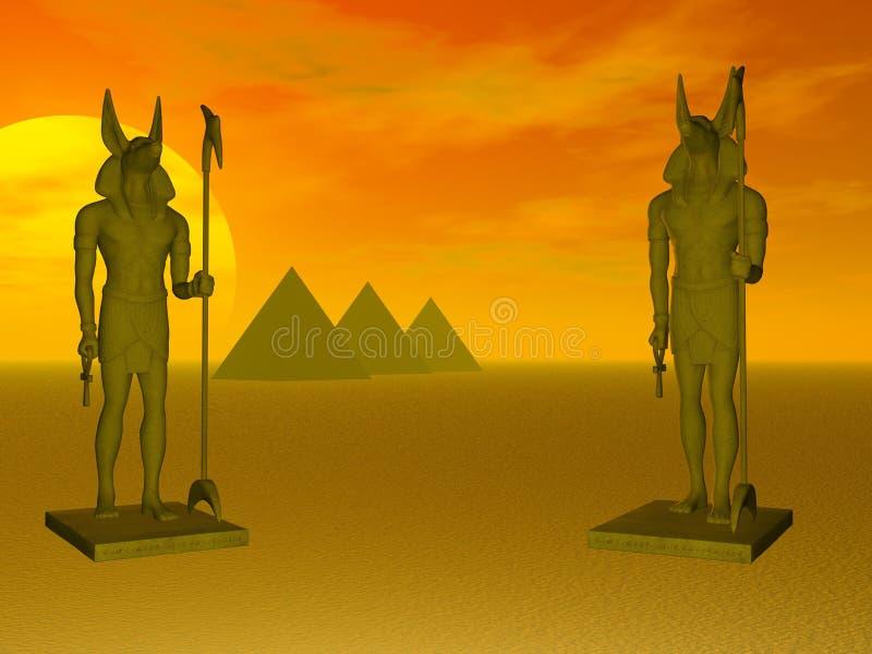 anubispyramider vektor illustrationer