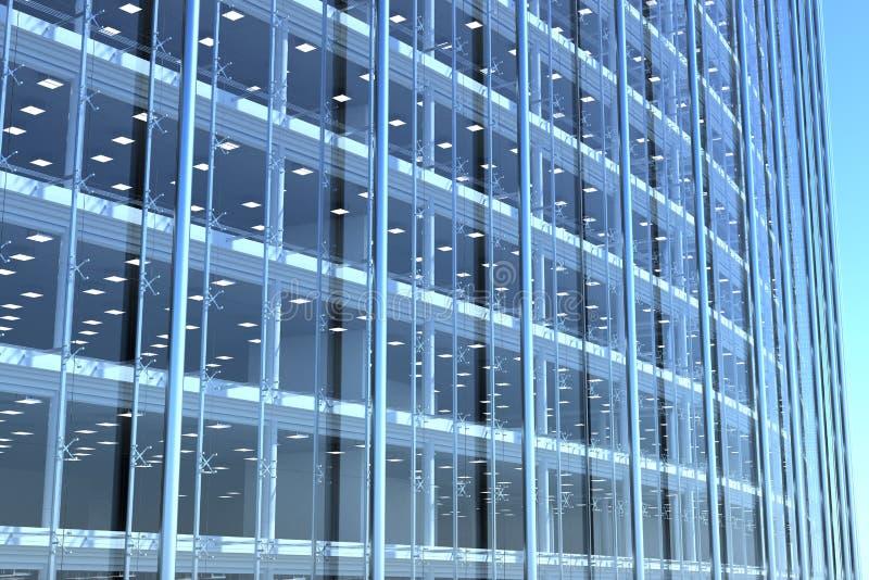 Anule a fachada de vidro do prédio de escritórios curvado ilustração stock