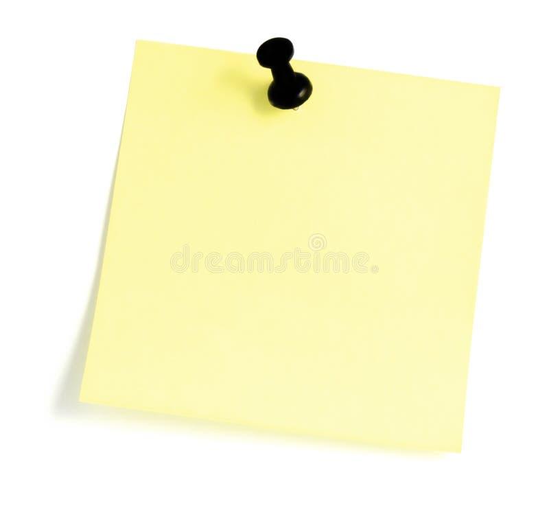 Anule a nota pegajosa com o righthand preto do Pushpin imagens de stock