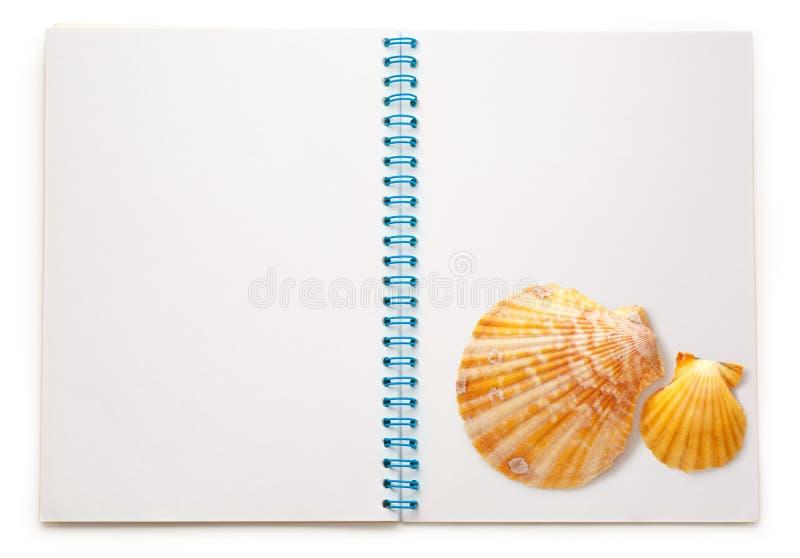 Anule o bloco de notas aberto com conchas do mar imagens de stock