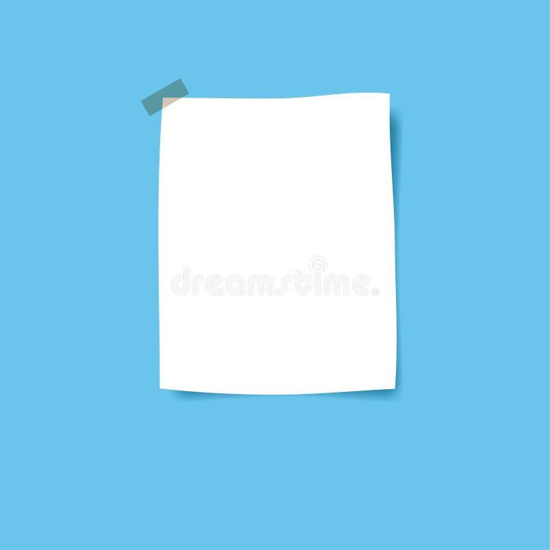 Anule páginas do bloco de notas e a fita escocêsa esquadradas Wi colados do papel de nota ilustração royalty free
