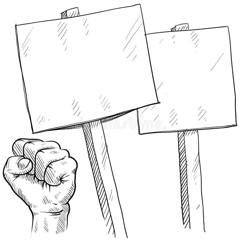 Anule sinais do piquete ou do protesto ilustração stock