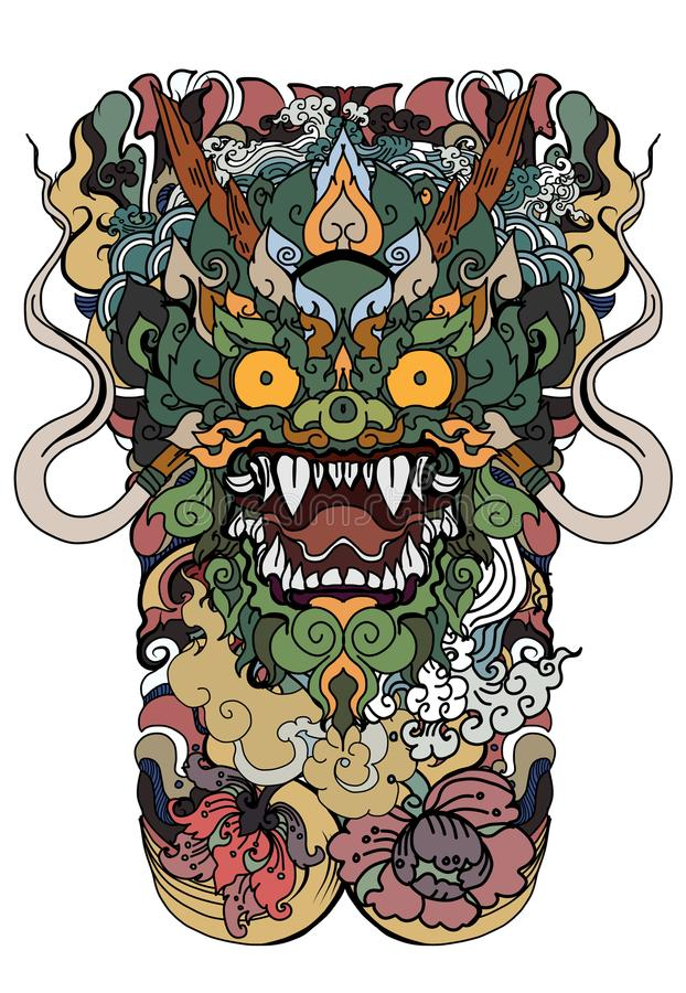 Anuman Monkey face design with wave and peony flower on cloud background.Thai Demon mask and Line Thai style. Thai art traditional tattoo design.Hanuman Monkey vector illustration