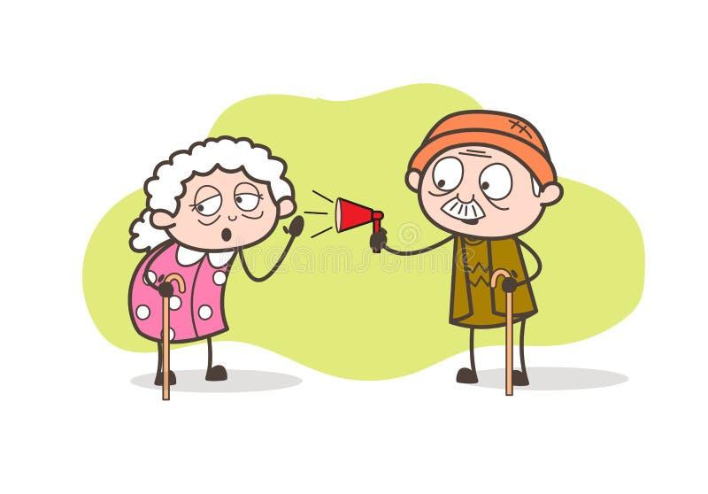 Anunciación del abuelo de la historieta y ejemplo del vector de la abuelita que escucha stock de ilustración