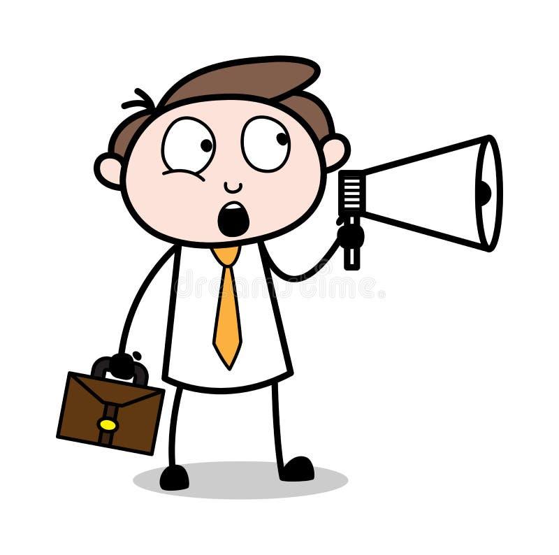 Anunciación - ejemplo de Employee Cartoon Vector del hombre de negocios de la oficina stock de ilustración