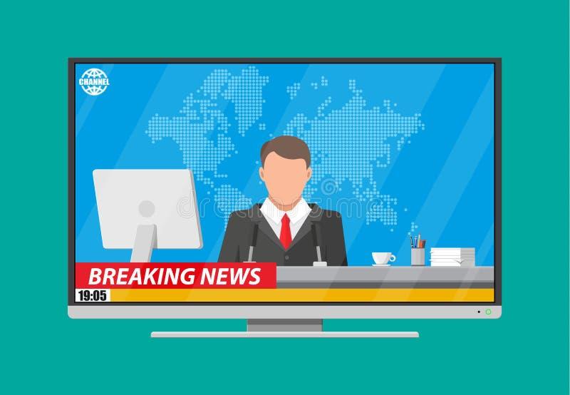 Anunciador da notícia no estúdio ilustração stock