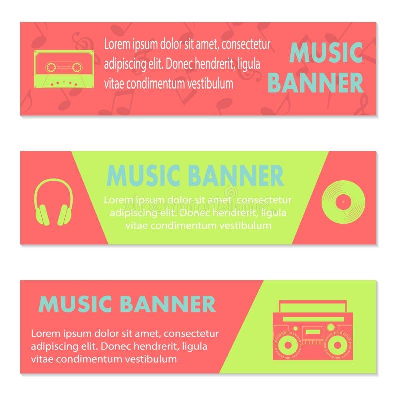 Anunciando bandeiras musicais ilustração stock