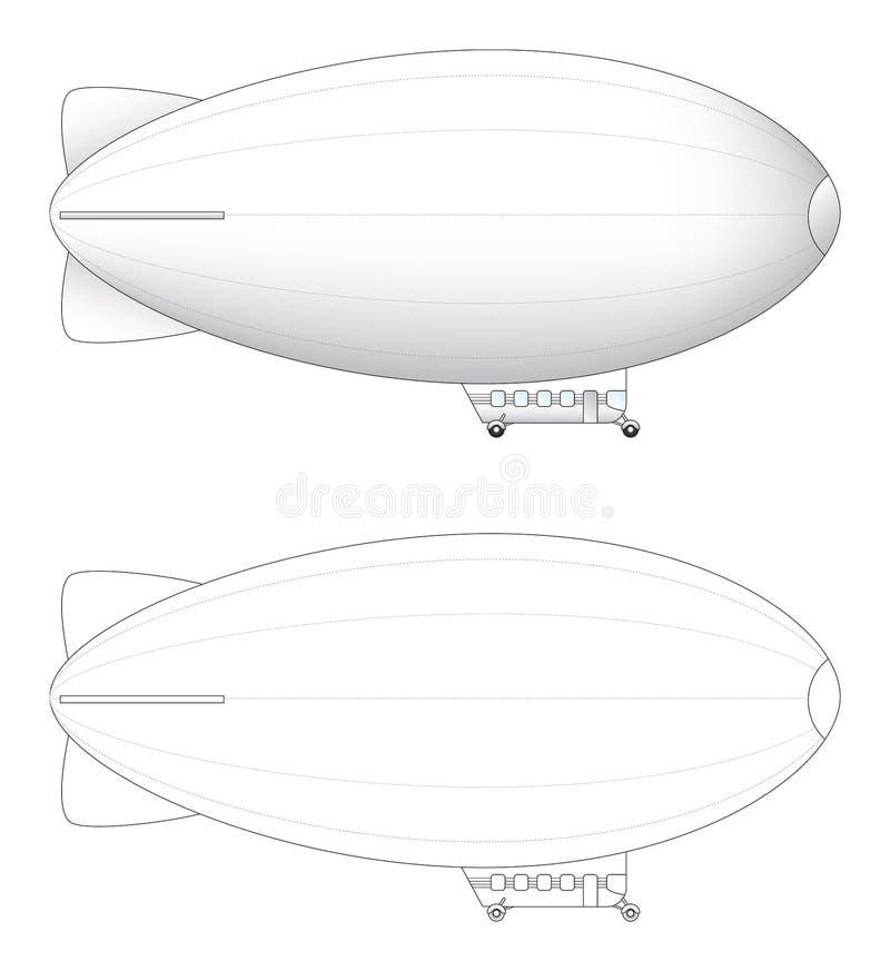 Anunciando o illus do vetor do dirigível ilustração stock