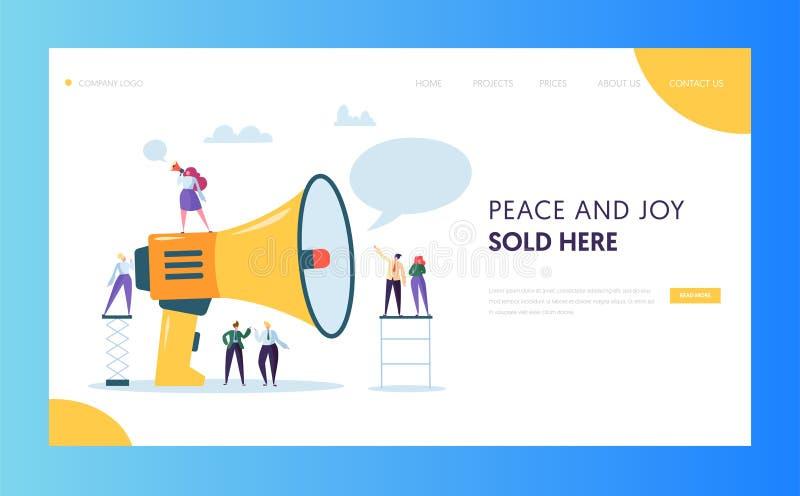 Anunciando o projeto de mercado maciço do molde do Web site da página da aterrissagem Altifalante do grito da mulher ao página da ilustração royalty free