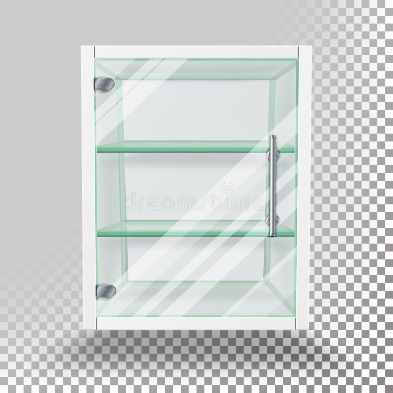 Anunciando o vetor do armário de vidro Esvazie o suporte isolado no fundo transparente Mostra de vidro da propaganda para a exibi ilustração do vetor