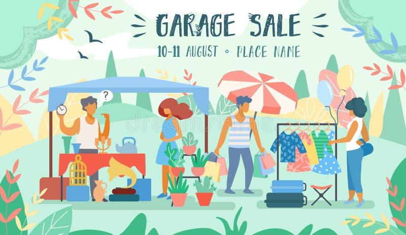 Anunciando a venda de garagem da inscrição do cartaz horizontalmente ilustração stock