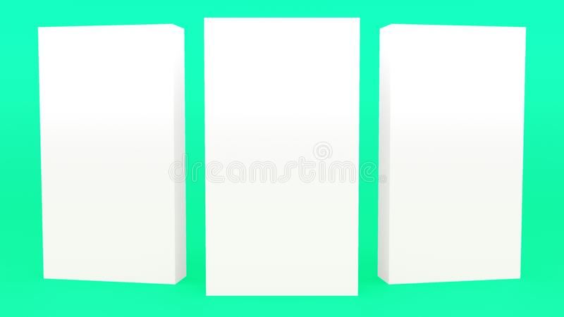Anunciando a zombaria minimalistic moderna da rendição 3d mínima verde cinzenta da bandeira do suporte acima, molde vazio, mostra ilustração do vetor
