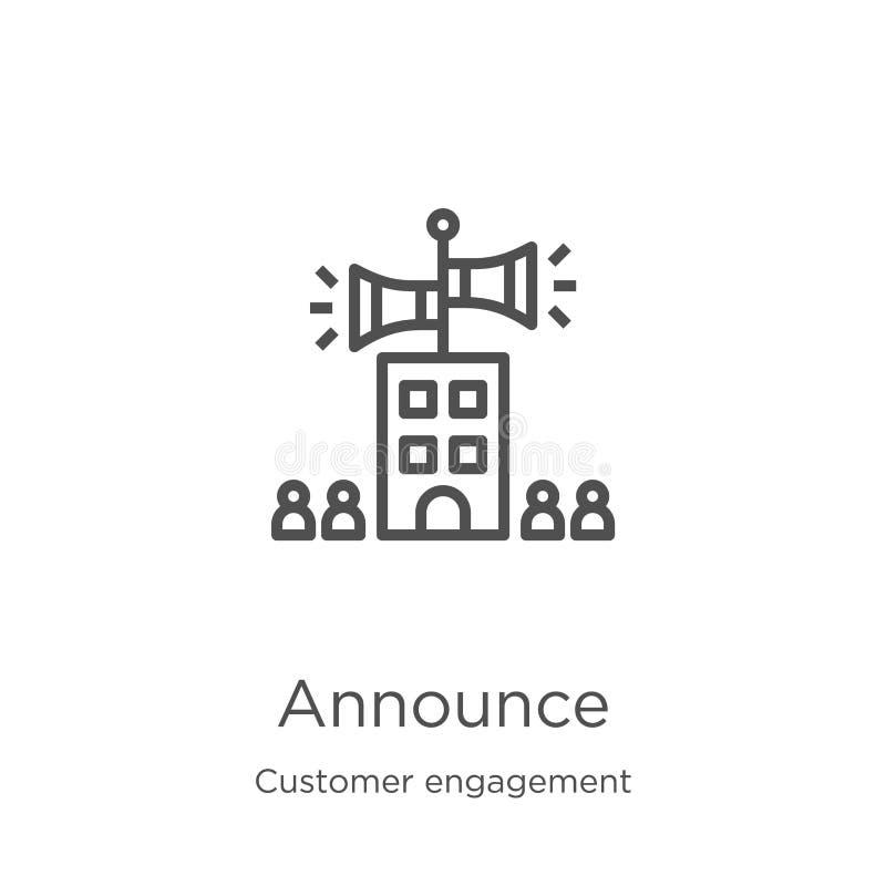 anuncie el vector del icono de la colección del compromiso del cliente La l?nea fina anuncia el ejemplo del vector del icono del  ilustración del vector