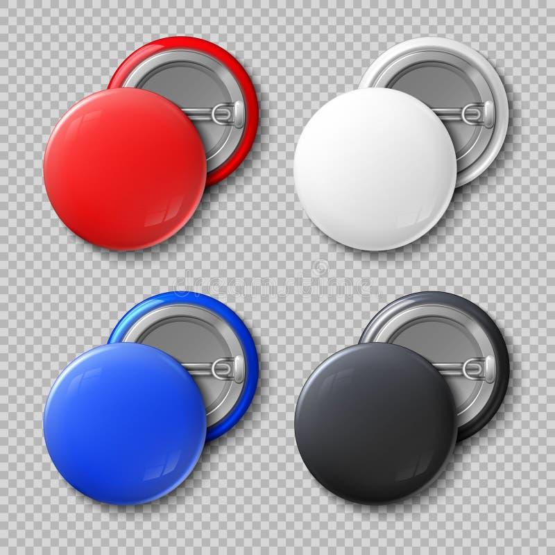 Anuncie o grupo redondo do vetor dos botões ou dos crachás do metal da cor vazia ilustração do vetor