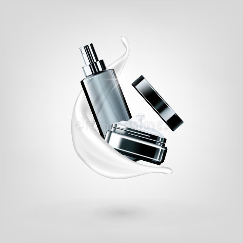 Anuncio cremoso cosmético hidratante de la leche de los productos 3D ilustración del vector