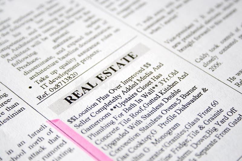 Anuncio de Clasified - propiedades inmobiliarias foto de archivo libre de regalías