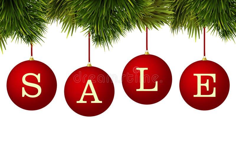 Anuncio de la bandera de la venta de la Navidad - las chucherías rojas con el pino ramifican ilustración del vector