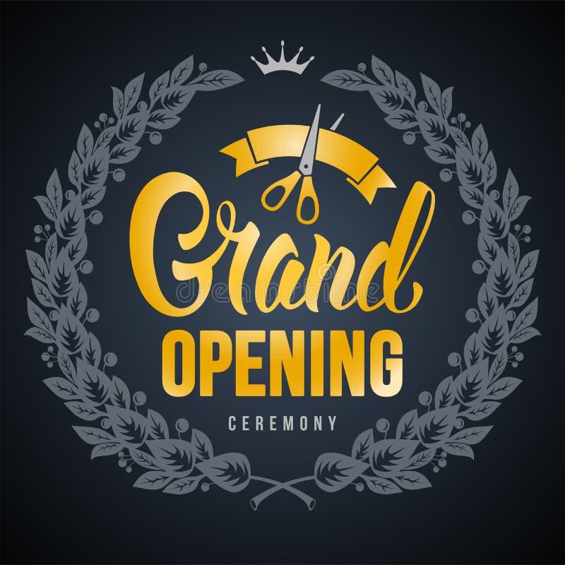 Anuncio de la gran inauguraci?n stock de ilustración