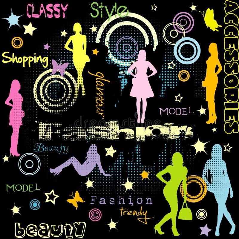 Anuncio de la moda con el silhouett coloreado de las mujeres libre illustration