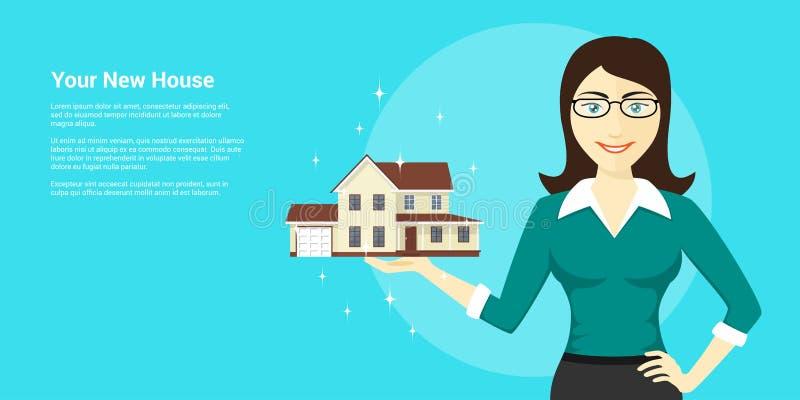 Anuncio de la nueva casa ilustración del vector