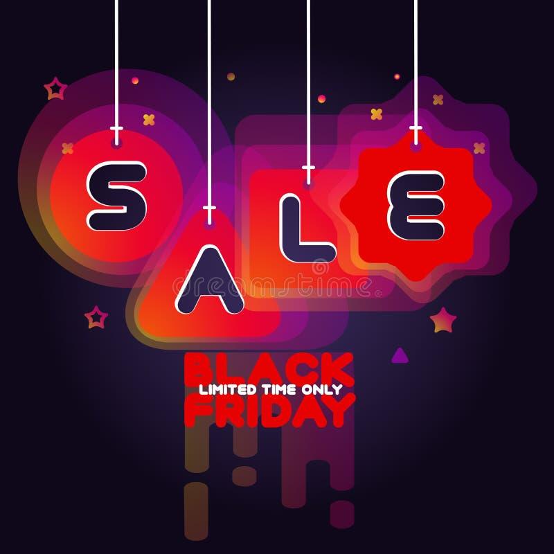 Anuncio de la venta de Black Friday en fondo violeta oscuro ilustración del vector