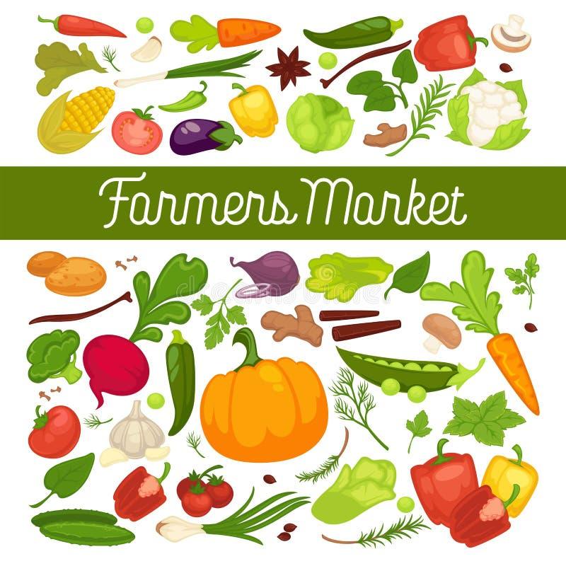 Anuncio de las verduras frescas con los productos vegetarianos sanos orgánicos y verdor de la granja por completo de vitaminas ilustración del vector