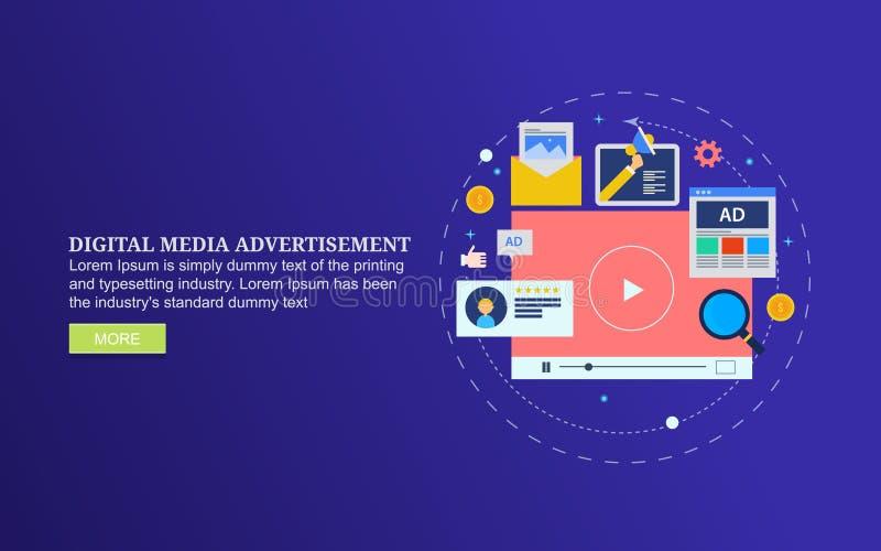 Anuncio de los medios de Digitaces, publicidad video, contenido social del anuncio de los medios stock de ilustración