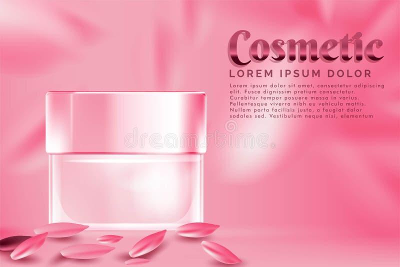 anuncio de productos cosmético del tarro poner crema, con el fondo color de rosa del pétalo rosado stock de ilustración