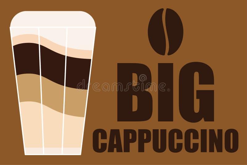 Anuncio de vidrio cappuccino bic ilustración del vector