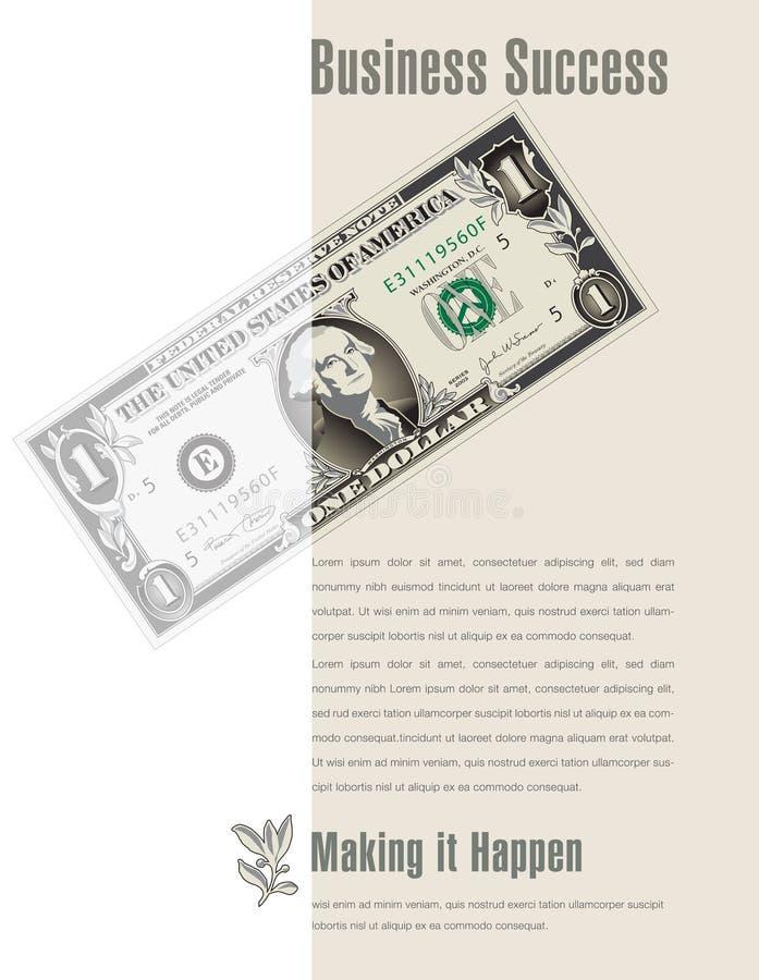 Anuncio del éxito empresarial con un billete de dólar stock de ilustración
