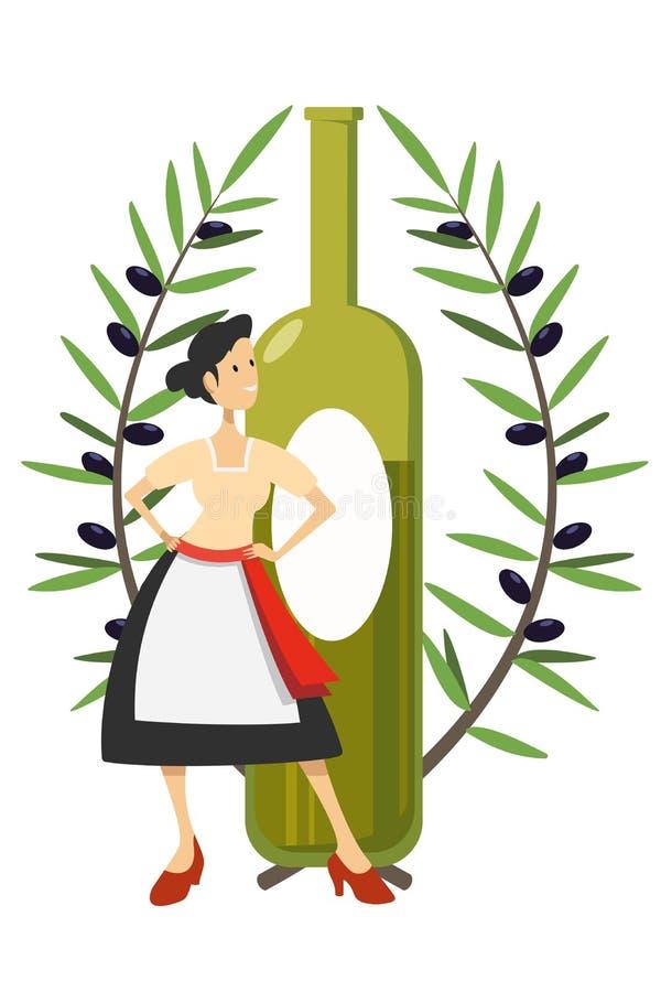 anuncio del aceite de oliva stock de ilustración