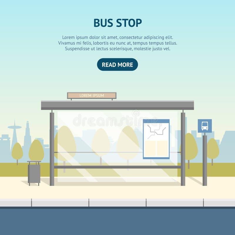 Anuncio del cartel de la tarjeta de la parada de autobús de la historieta Vector libre illustration
