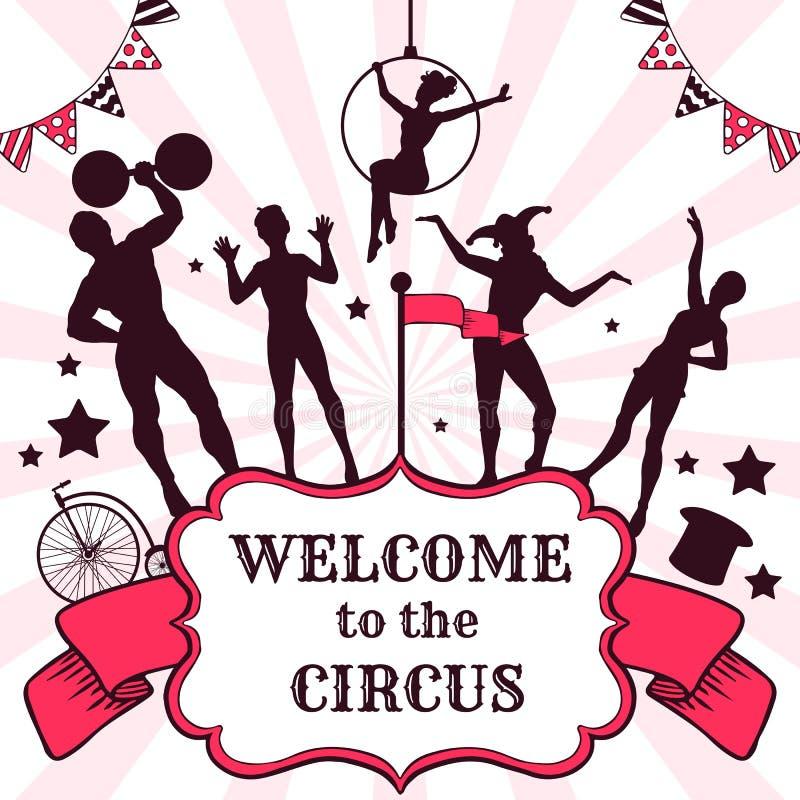 Anuncio del funcionamiento del circo stock de ilustración