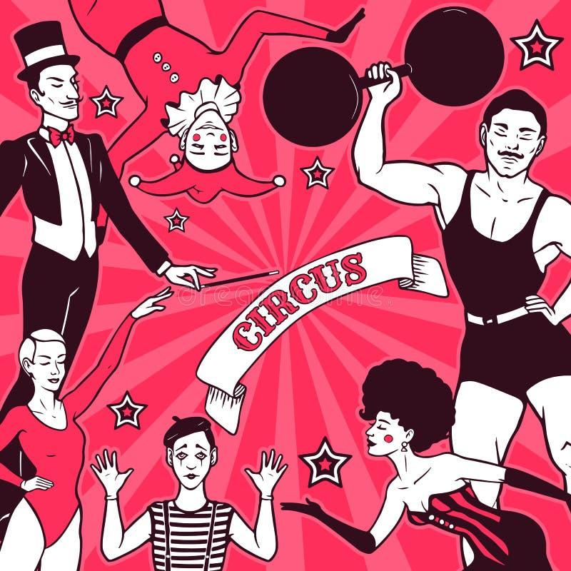 Anuncio del funcionamiento del circo ilustración del vector