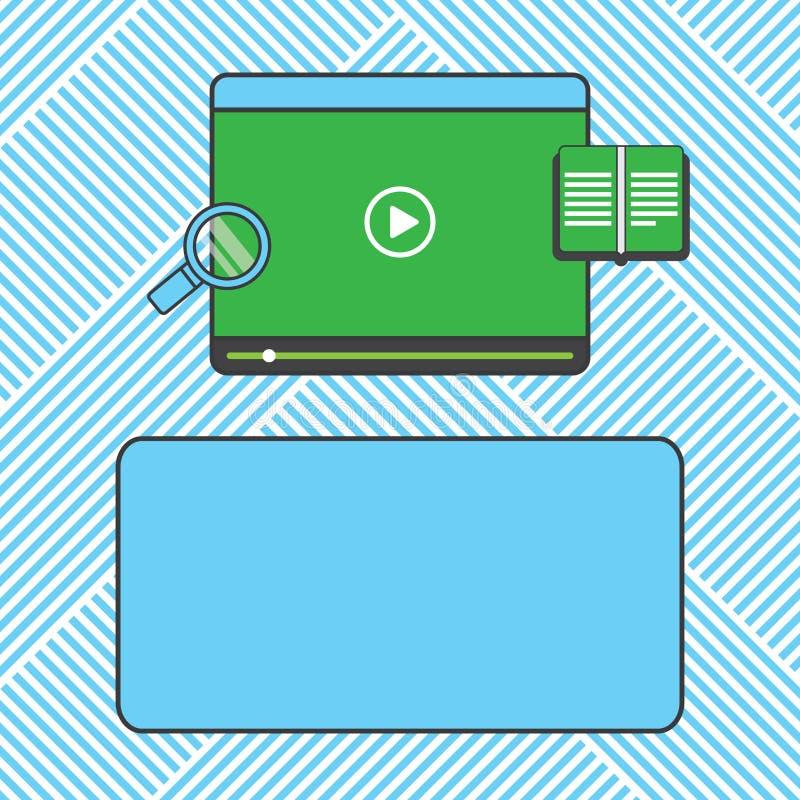 Anuncio del negocio del concepto del negocio del diseño para el vídeo de los medios de las banderas de la promoción de la página  stock de ilustración